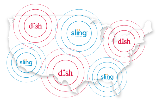 Animated US map showing Dish and SlingTV coverage
