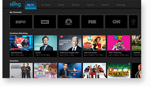 SlingTV user interface